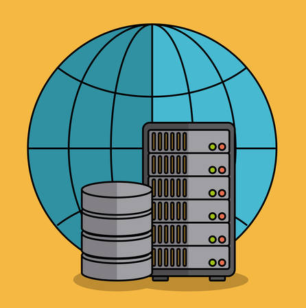 global sphere and data center disk  icon over yellow background colorful design vector illustration Illustration