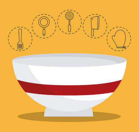 bowl and kitchen related icons over yellow background colorful design vector illustration Illustration