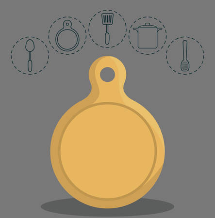 turner: table cut and kitchen utensils related icons over gray background colorful design vector illustration
