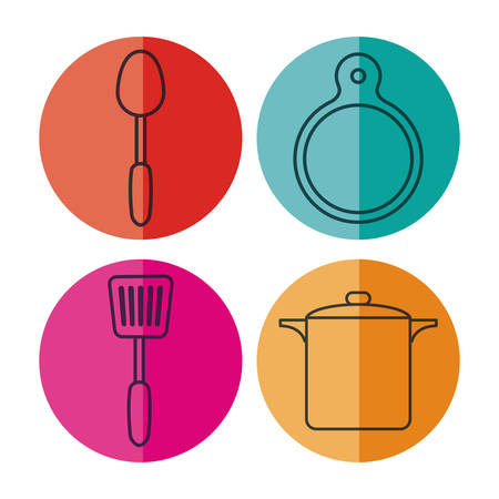 kitchen utensils related icons over colorful circles and white background vector illustration Illustration