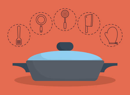 cooking pan and kitchen utensils related icons over orange background colorful design vector illustration