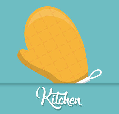 kitchen glove icon over blue background colorful design vector illustration