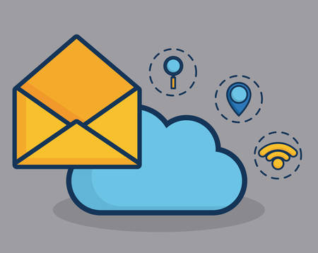envelope and cloud with digital marketing related icons over  gray background vector illustration