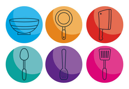 turner: kitchen utensils related icons over colorful circles and white background vector illustration Illustration