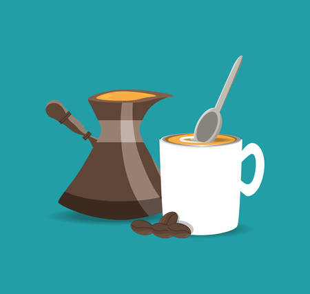 flat jar and cup coffee with beans coffee vector illustration