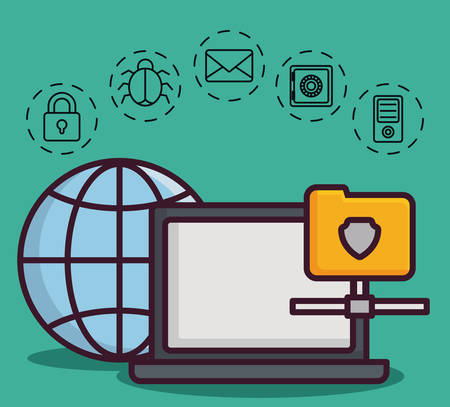 global sphere and computer with cyber security related icons over turquoise background colorful design vector illustration