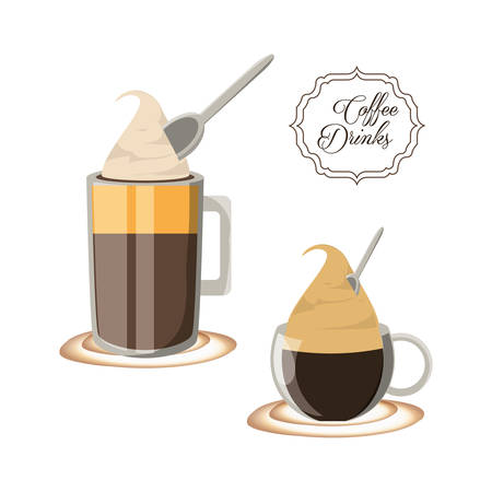 flat set icon with differents types coffee vector illustration
