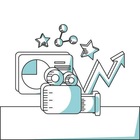 line marketing strategy planning concept vector illustration Illustration