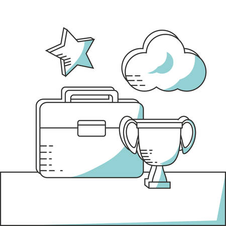line icon suitcase cloud and trophy vector illustration Illustration