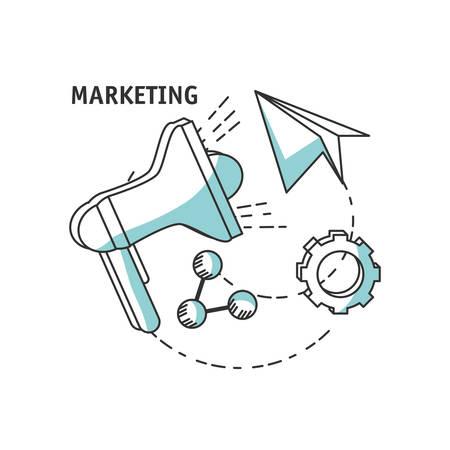 line icons marketing concept vector illustration design