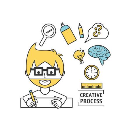 man creative imagination with innovation ideas vector illustration Illustration
