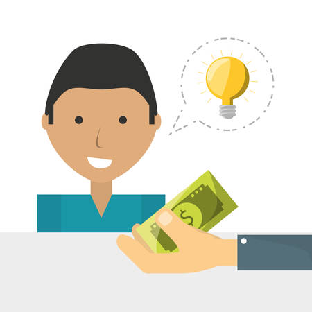 A man crowndfunding and business finance support vector illustration Illustration