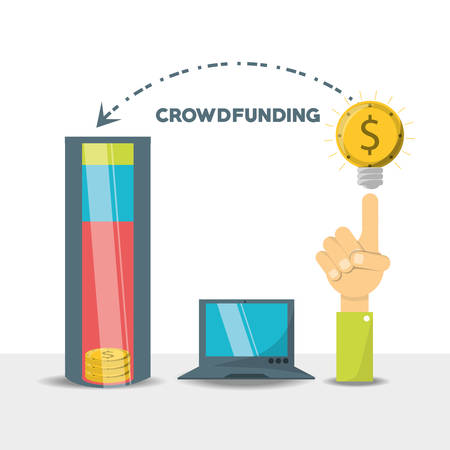 Crowdfunding business financial company support vector illustration