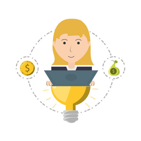 woman project to financial business support vector illustration