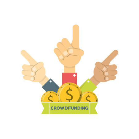 Hands  with fingers pointing upward with business project to company finance vector illustration