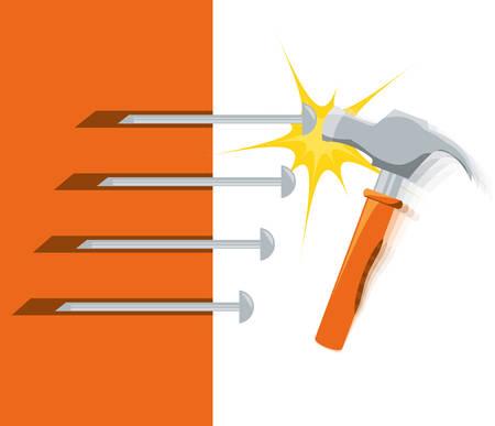 hammet tool to repair service vector illustration