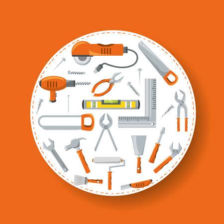 Equipment tool and mechanic repair service vector illustration Illustration