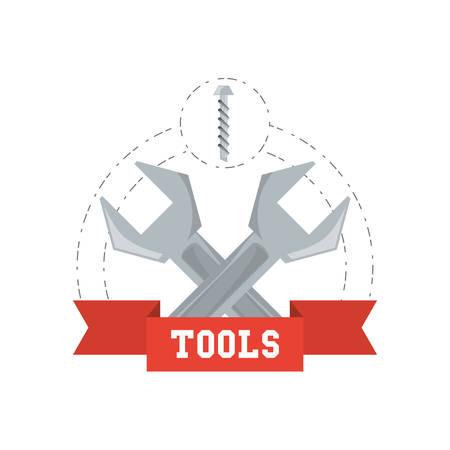 wrench tool to repair service vector illustration