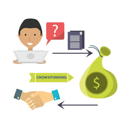 man crowndfunding and business finance support vector illustration