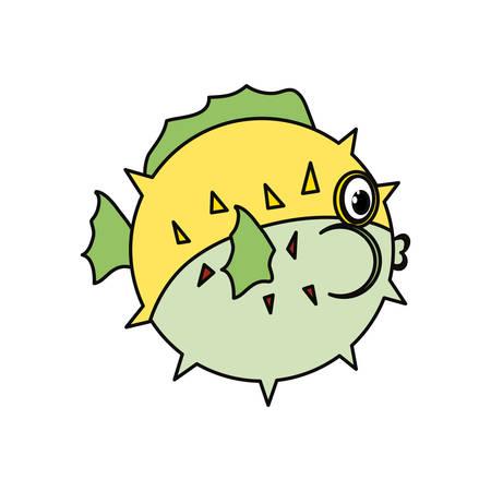 Lindo pez de dibujos animados icono de ilustración vectorial diseño gráfico