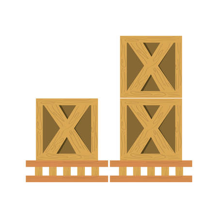 Wooden boxes delivery icon vector illustration graphic design