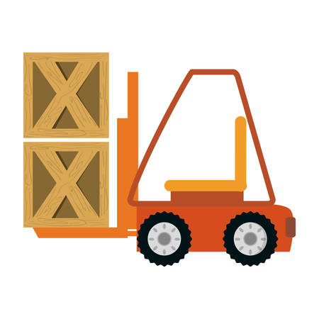 movers: Forklift cargo vehicle icon vector illustration graphic design Illustration