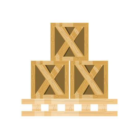 wood crate: Wooden boxes delivery icon vector illustration graphic design
