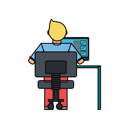 Man working with computer icon vector illustration graphic design Illustration