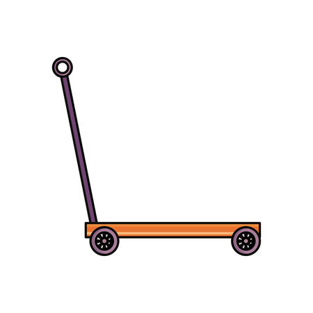 hydraulic lift: trolley hydraulic big metallic containers icon vector illustration graphic design
