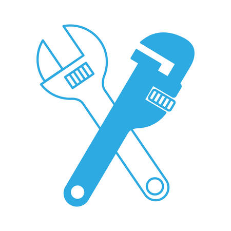 install: pipe wrench and wrench crossed  icon over white background vector illustration