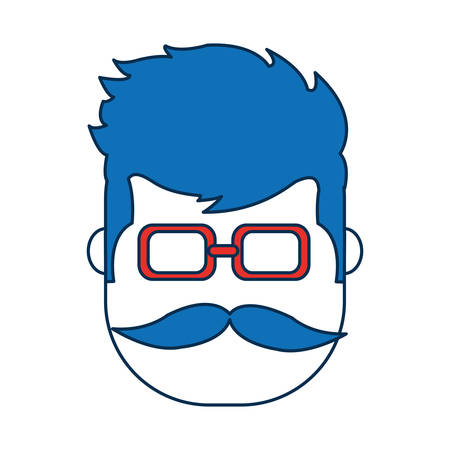man wearing glasses icon over white background vector illustration