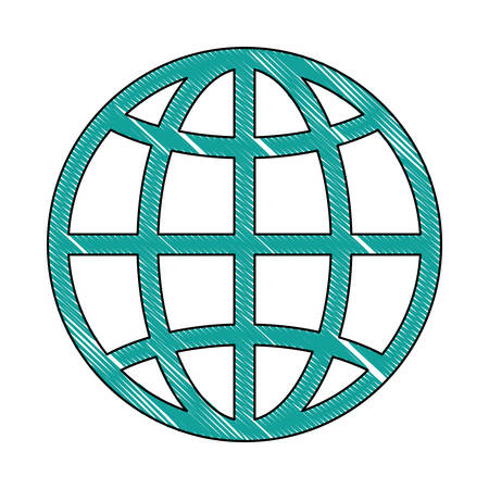 parallel world: Global sphere icon over white illustration
