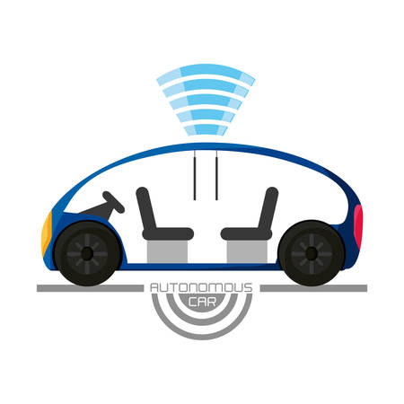 autonomous car icon over white background colorful design vector illustration