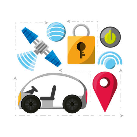 autonomouse car related icons over white background colorful design vector illustration