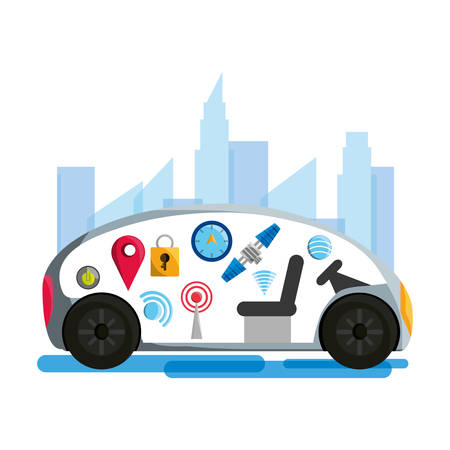 autonomouse car and techology related icons over white background colorful design vector illustration