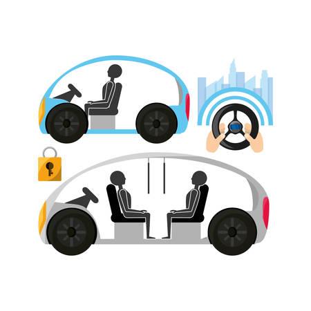 coche autnomous y manos con icono de volante sobre fondo blanco Ilustración de vector de colorido diseño
