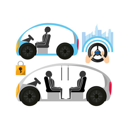 autnomous car and hands with steering wheel icon over white background colorful design vector illustration