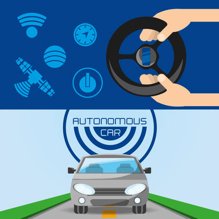 autonomous car and hands with steering wheel icon colorful design vector illustration