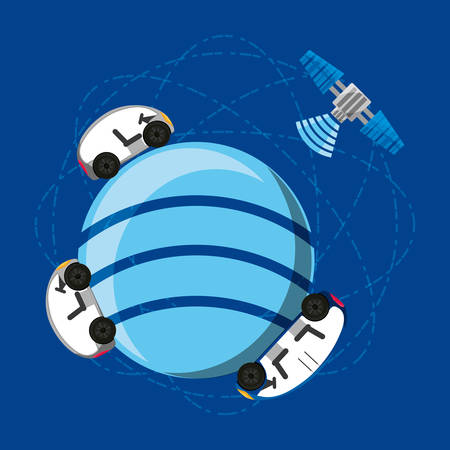 global sphere with autonomous car and satellite icon over blue background colorful design vector illustration Illustration