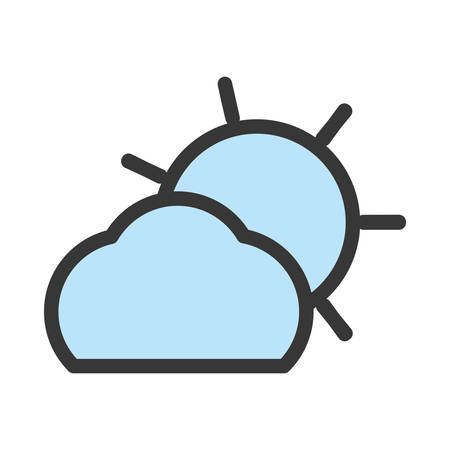 Flat line monochromatic cloud and sun over white background vector illustration