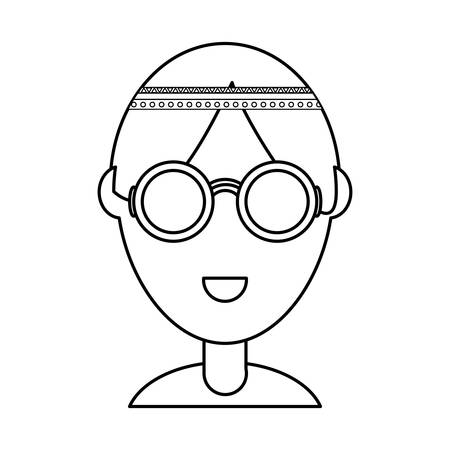 uncolored  hippie man over  white background vector illustration