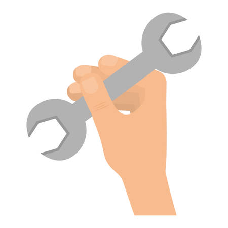 Colorful  wrench and  hand  over white  background vector illustation