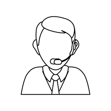 A man with headset icon over white background vector illustration