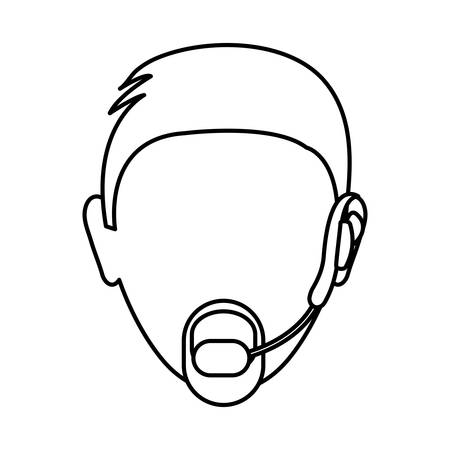 Man with headset icon over white background vector illustration