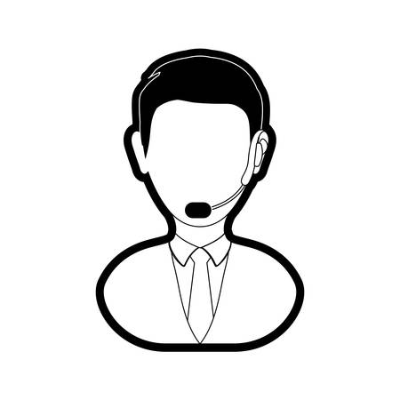 computer operator: Flat line monochromatic  man call center over white background vector illustration