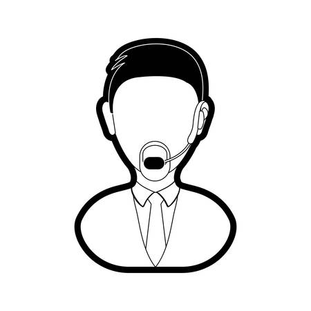 Flat line monochromatic  man call center over white background vector illustration