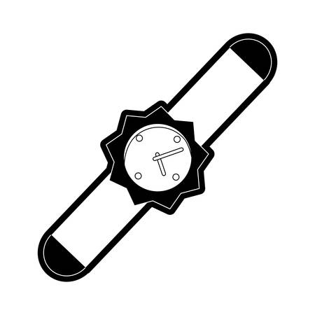 Flat line monochromatic smartwatch over white  background  vector illustration