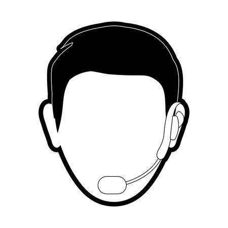 Flat line monocromatic  face man headphone call center over white illustratio