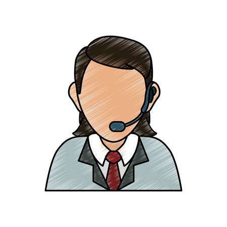 Man with headset icon over white background colorful design vector illustration