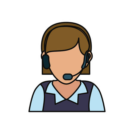 executive assistants: woman with headset icon over white background colorful design vector illustration